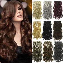 Soowee 7pcs/set Synthetic Natural Hair Curly Brown Blonde Clip In Hair Extensions Hairpiece Fake Hair Piece(China)