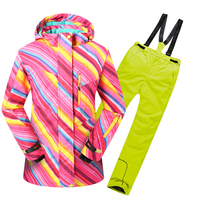 Children Clothing Sport Suit for Girls Ski Clothes Windproof Waterproof High Quality Winter Warm Outdoor 30 Degree
