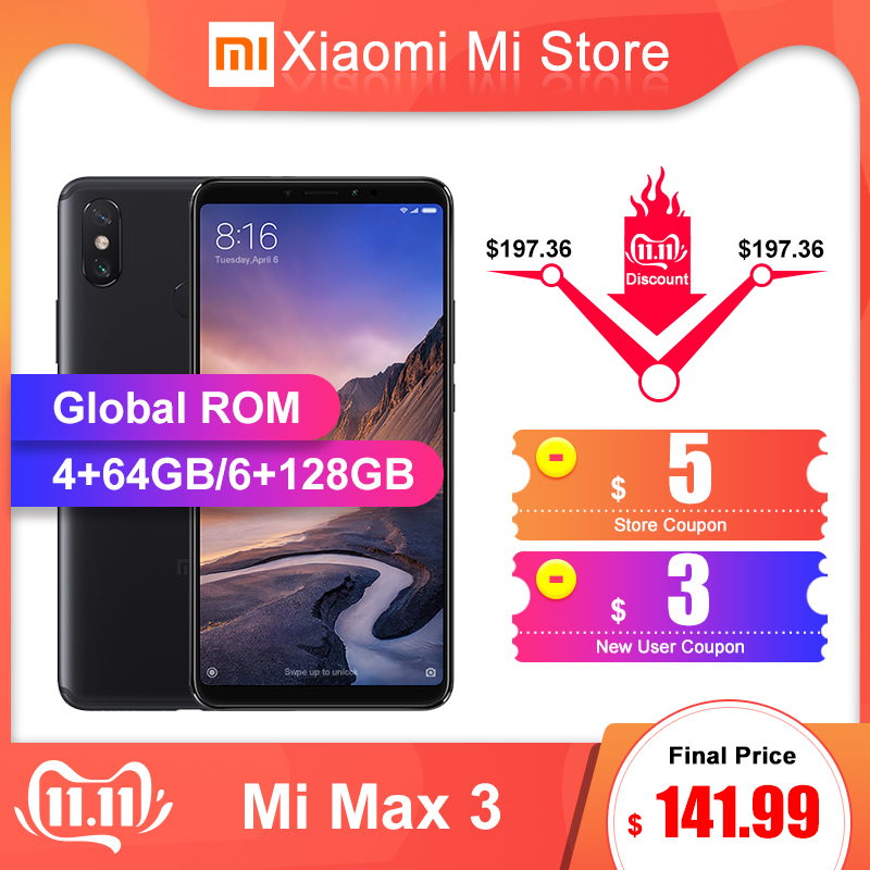 ROM Global Xiao mi mi Max 3 4GB 64 GB/6 GB 128GB téléphone portable Snapdragon 636 Octa core AI double caméras 6.9 plein écran 5500mAh