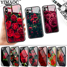 red rose Glass Phone Case for Apple iPhone 11 Pro XR X XS Max 6 6S 7 8 Plus 5 5S SE webbedepp hot red dead redemption 2 glass phone case for apple iphone xr x xs max 6 6s 7 8 plus 5 5s se