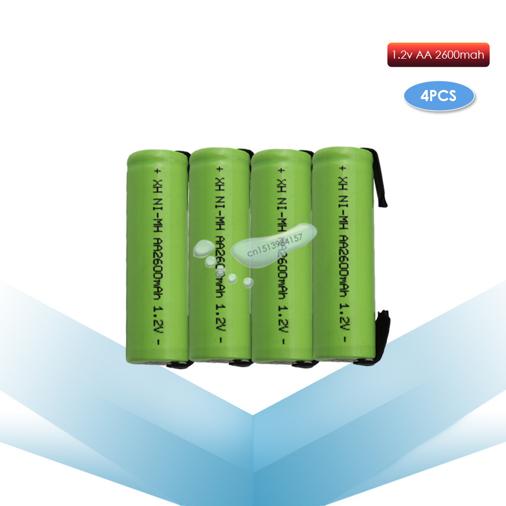 kpay 4pcs 1.2V AA 2600mah 2A ni-mh nimh rechargeable battery cell green shell with tabs pins Braun electric shaver toothbrush image
