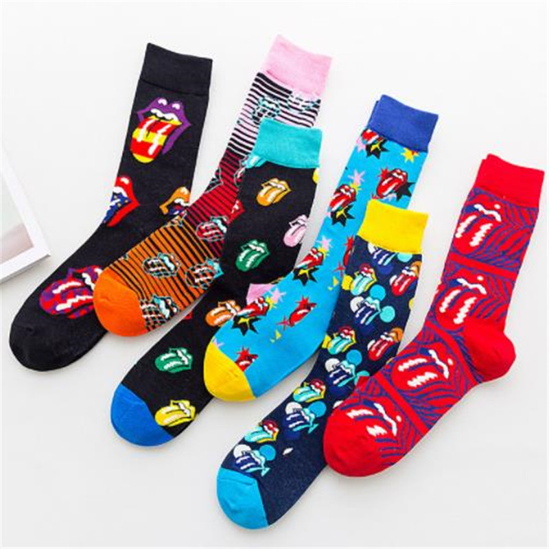It's The Rolling Stones, It's Tongue Rock, It's Fashion, It's Men's And Women's Mid-length Cotton Stockings ZQ018