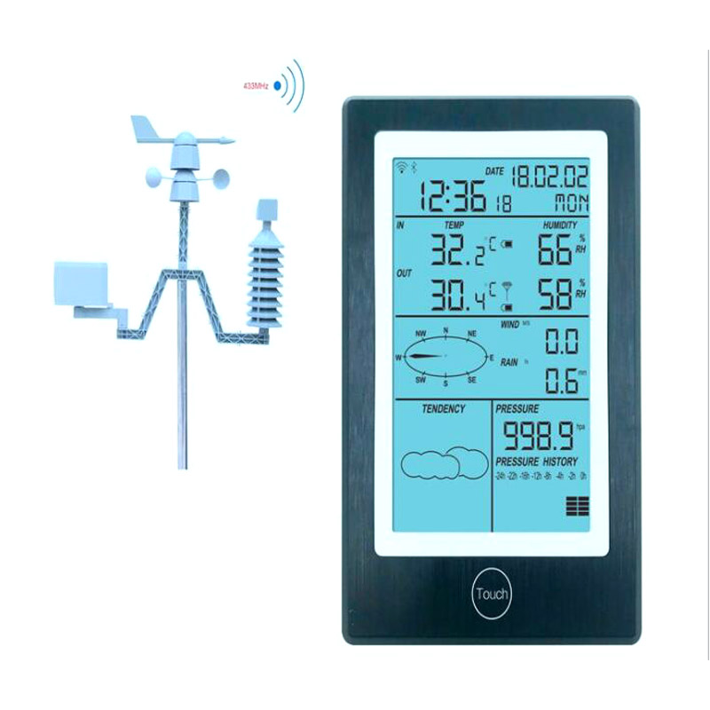 Professional Digital Temperature Hygrometer Rainfall Pressure Wind Weather Forecast Wireless Bluetooth APP WiFi Weather Station image