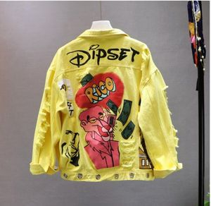 Image 5 - Red / Yellow Jeans Jacket New Spring Autumn Womens Graffiti Alphabet Printing Lace Bow Pin Hole Denim Coat Student Basic Coat