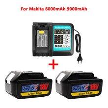 С зарядным устройством BL1860, перезаряжаемая батарея 18 в, 6-9 мАч, литий-ионная батарея для Makita 18 в, батарея 6 Ач, BL1840, BL1850, BL1830, BL1860B, LXT400