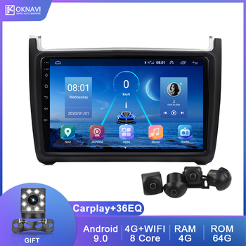 For Volkswagen VW Polo Sedan 2008-2020 Android 9.0 Car Radio Multimedia Video DVD Player GPS Navigation Carplay DSP HD Camera image