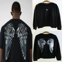 Marcelo Burlon T shirt County of Milan AW19 Black Cotton Heart Wings Marcelo Burlon T shirts Long Sleeves MB Printed Wings Tee