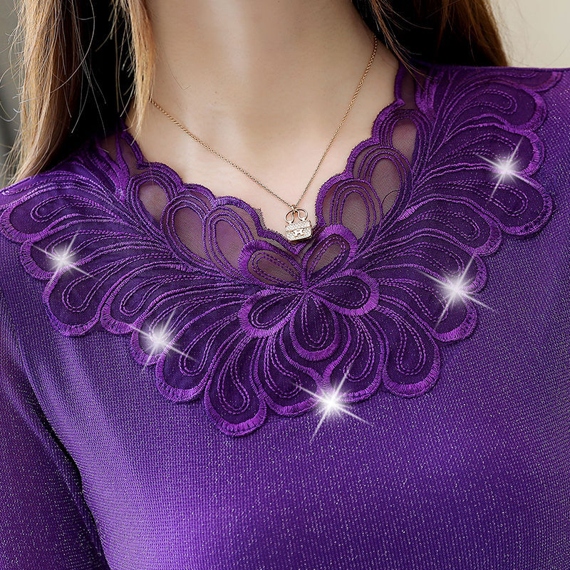 New 2019 Autumn Winter Blouses Velvet Thick Mesh Hollow Blouse Women Long Sleeve Shirt Fashion Korean Lace Shirts Plus Size Tops