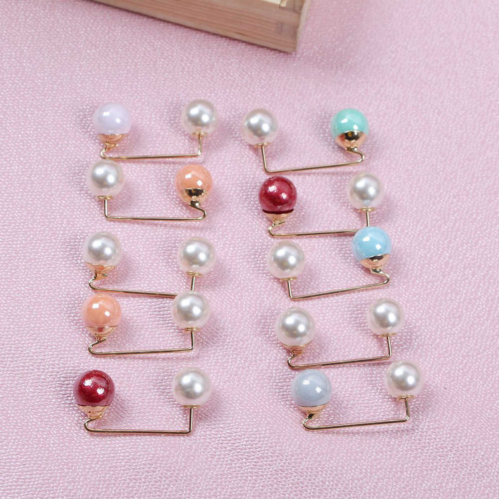 Double Imitation Pearl Brooches Pin Wedding Bridal Scarf Clip Lapel Pin Gift For Women Clothing Accessories