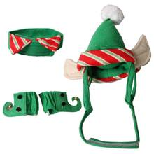 Christmas Pet Costume Neck Collar Leg Sleeve Cuffs Santa Hat For Dog Cat Party Cosplay Pet Supplies(China)