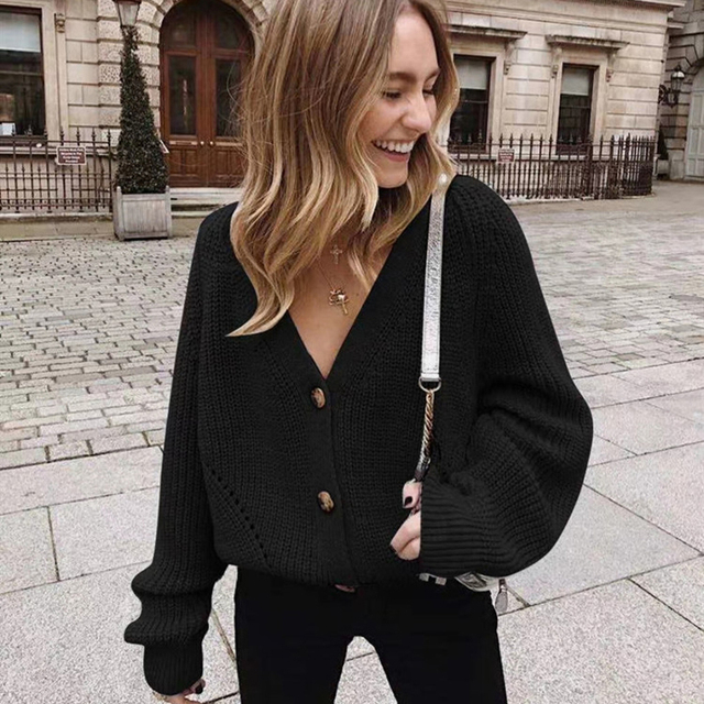 Zoki Women Knitted Cardigans Sweater Fashion Autumn Long Sleeve Loose Coat Casual Button Thick V Neck Solid Female Tops 2021 2