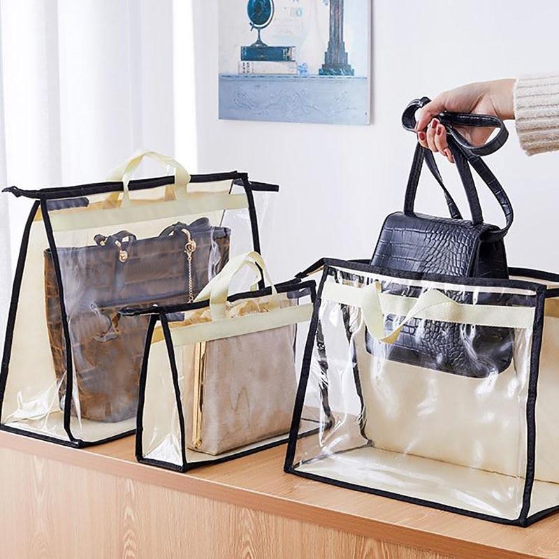 Transparent Storage Bag Women Handbag Purse Dust Cover Wardrobe Organizer Hanging Bag With Zipper Damp Proof Protection Pack