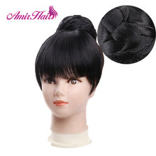 Amir Synthetic Hair Buns with bangs Clip-in Chignons Heat Resistant Fiber Black Burgundy colors Hair Piece Ponytail For Women(China)