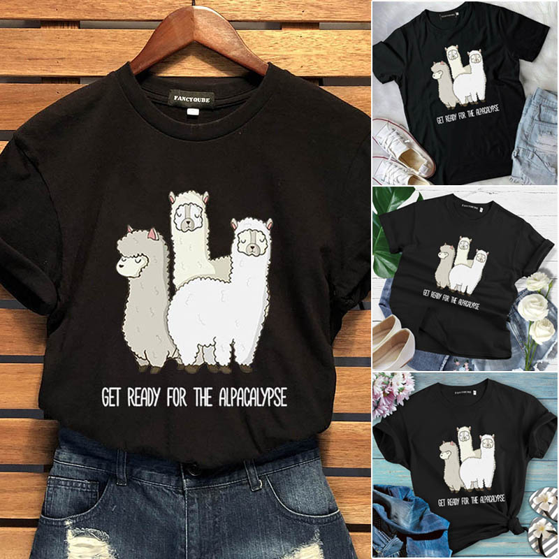Cute Alpaca Printed Llama Cotton <font><b>T</b></font> <font><b>Shirt</b></font> <font><b>Women</b></font> Summer Short Sleeve Graphic Tops Oversize Round Neck Tumblr <font><b>Funny</b></font> Animals Tshirt image