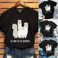 Linda Alpaca impresa Llama algodón camiseta mujer verano manga corta gráfico tapas gran tamaño cuello redondo Tumblr divertida camiseta de animales
