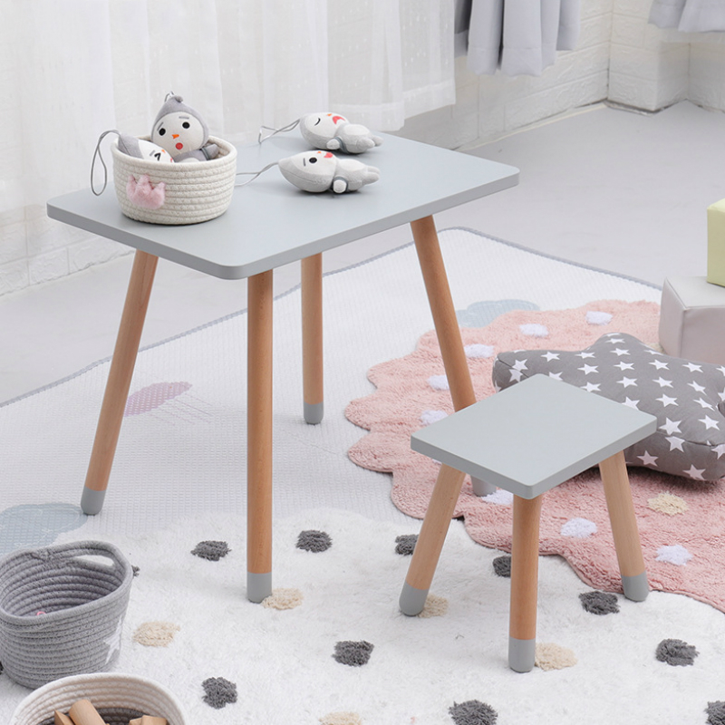 Children Desk And Chair Set Square Study Learning Desk Writing Table And Chair Solid Wood Minimalist Modern Baby Kids Furniture