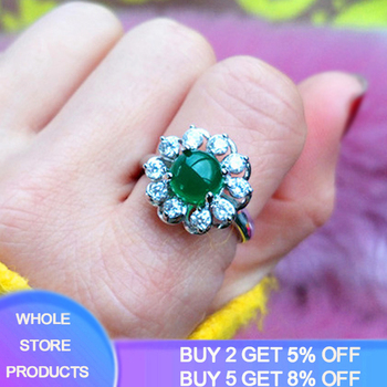 Luxury Fine Jewelry Emerald Rings for Women Wedding Engagement Cocktail Rings 100% 925 Sterling Silver Adjustable Ring ZR234 moonso a pair luxury genuine 925 sterling silver rings for women wedding engagement jewelry lr236s