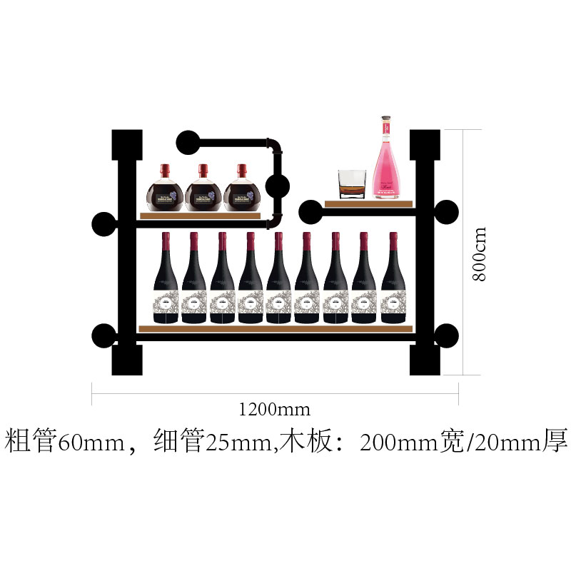High Grade Iron Pipe And Wood Board Assembly Artistic Wine Rack Set Display Rack New Design Wall Mounted Shelves