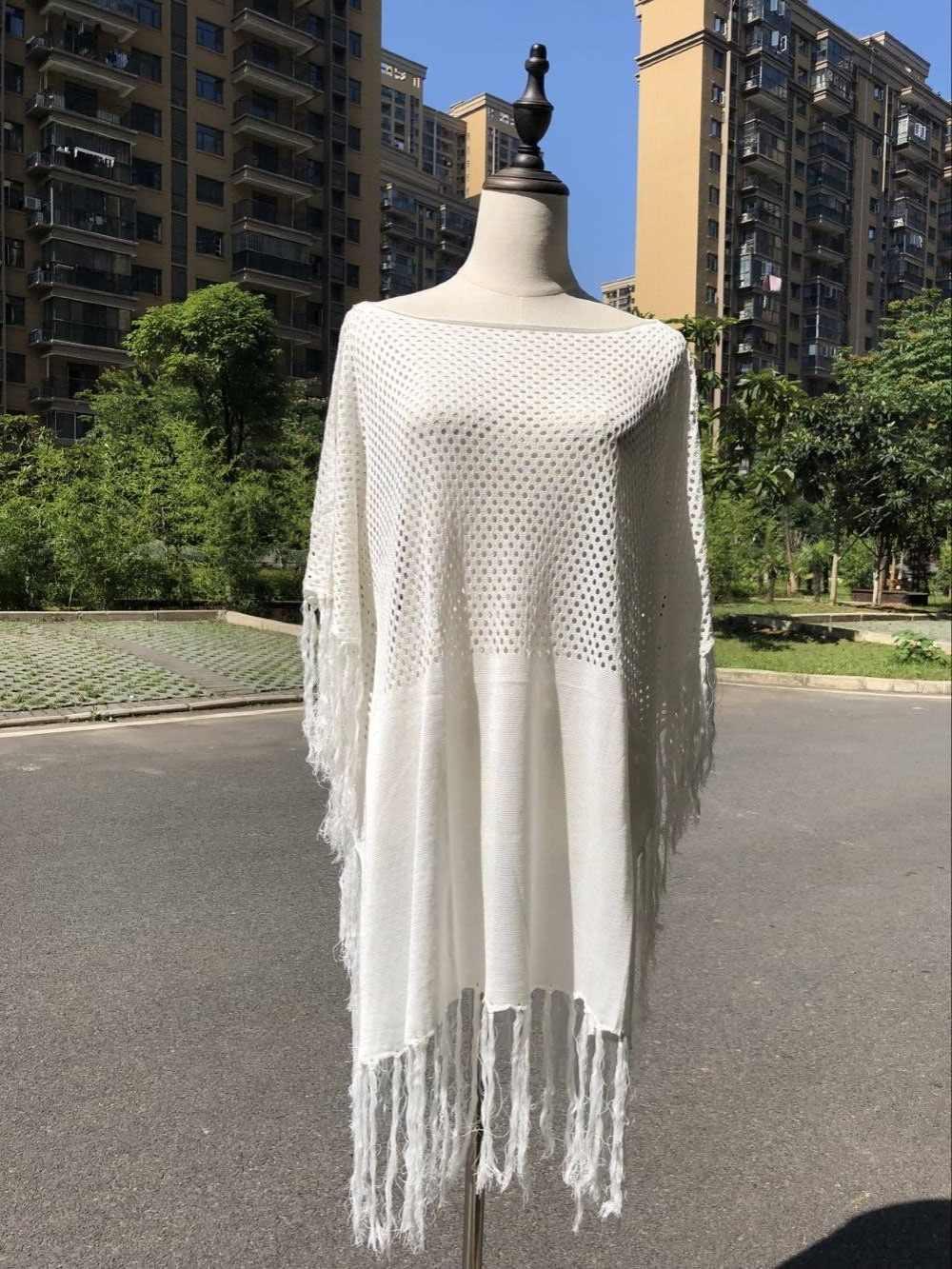 2020 con flecos verano de las mujeres ropa de playa traje de baño cubierta de baño Sexy vestido de Crochet blanco bikini con túnica cubierta de ups pareos # Q483