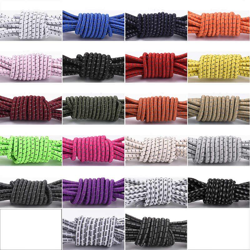 1 paar Runde Reflektierende Stretch Schnürsenkel Multicolor Elastische Band 105cm Sport Outdoor Schnürsenkel Saiten Für Turnschuhe Frauen Männer