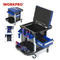 WORKPRO 135PC Tool Set Movable Workbench Seat car repair tool kit stool socket set mechanical hand tools sets box for car repair