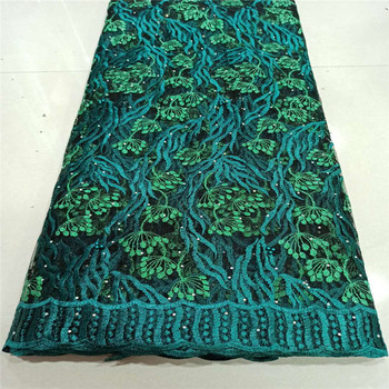 African Lace Fabric Embroidered Nigerian beads stones Lace Fabric 2020 green High Quality French Tulle Lace Fabric For Women