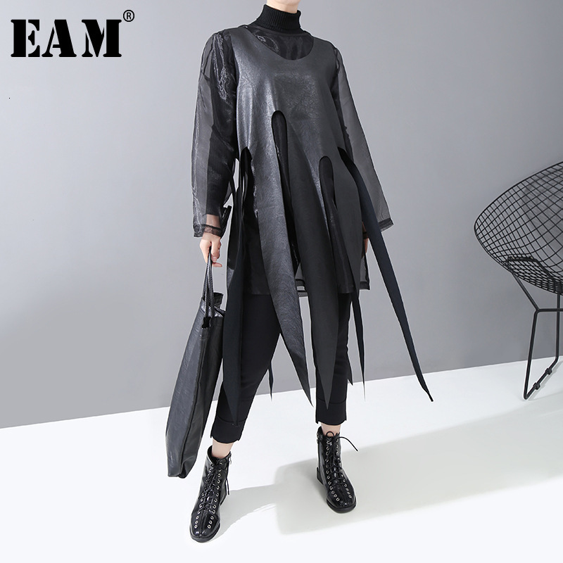 [EAM] Women Black Mesh Asymmetrical Leather Dress New Round Neck Long Sleeve Loose Fit Fashion Tide Spring Autumn 2020 1N253