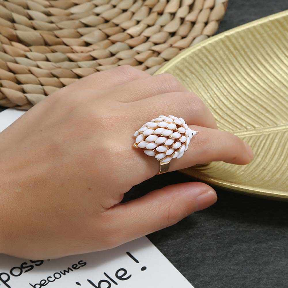 Hedgehog Cincin untuk Wanita Lucu Hitam Vintage Akrilik Antik Emas Hewan Biker Pria Hip Hop Fashion Perhiasan Aksesoris