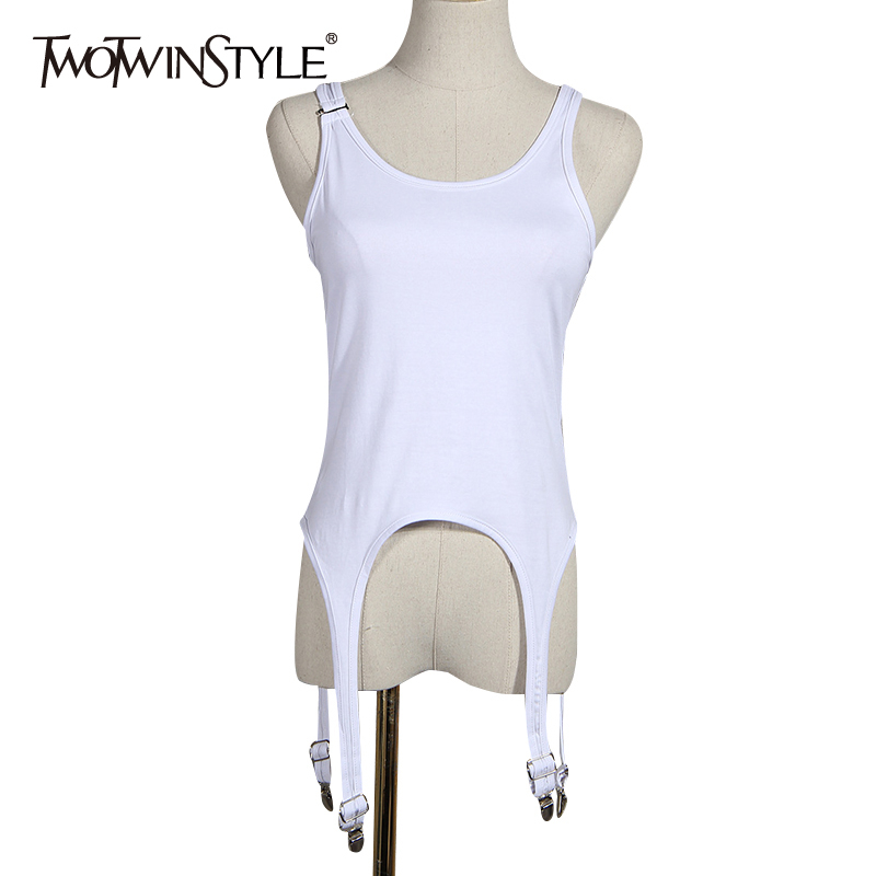TWOTWINSTYLE Casual Loose Women Vest O Neck Sleeveless Spaghetti Strap Irregular Hem Tank Tops For Female Clothes Summer Fashion