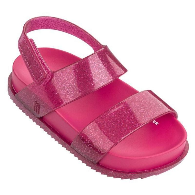 New Girls Summer PVC Sandal Fashion Mini Melissa Roma Jelly Shoes Plain Color Children Candy Saldal High Quality Shoes HMI002