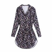 Evfer-minivestidos elegantes con estampado Floral para mujer, ropa morada de manga larga a la moda, camisa de cintura alta con cinturón