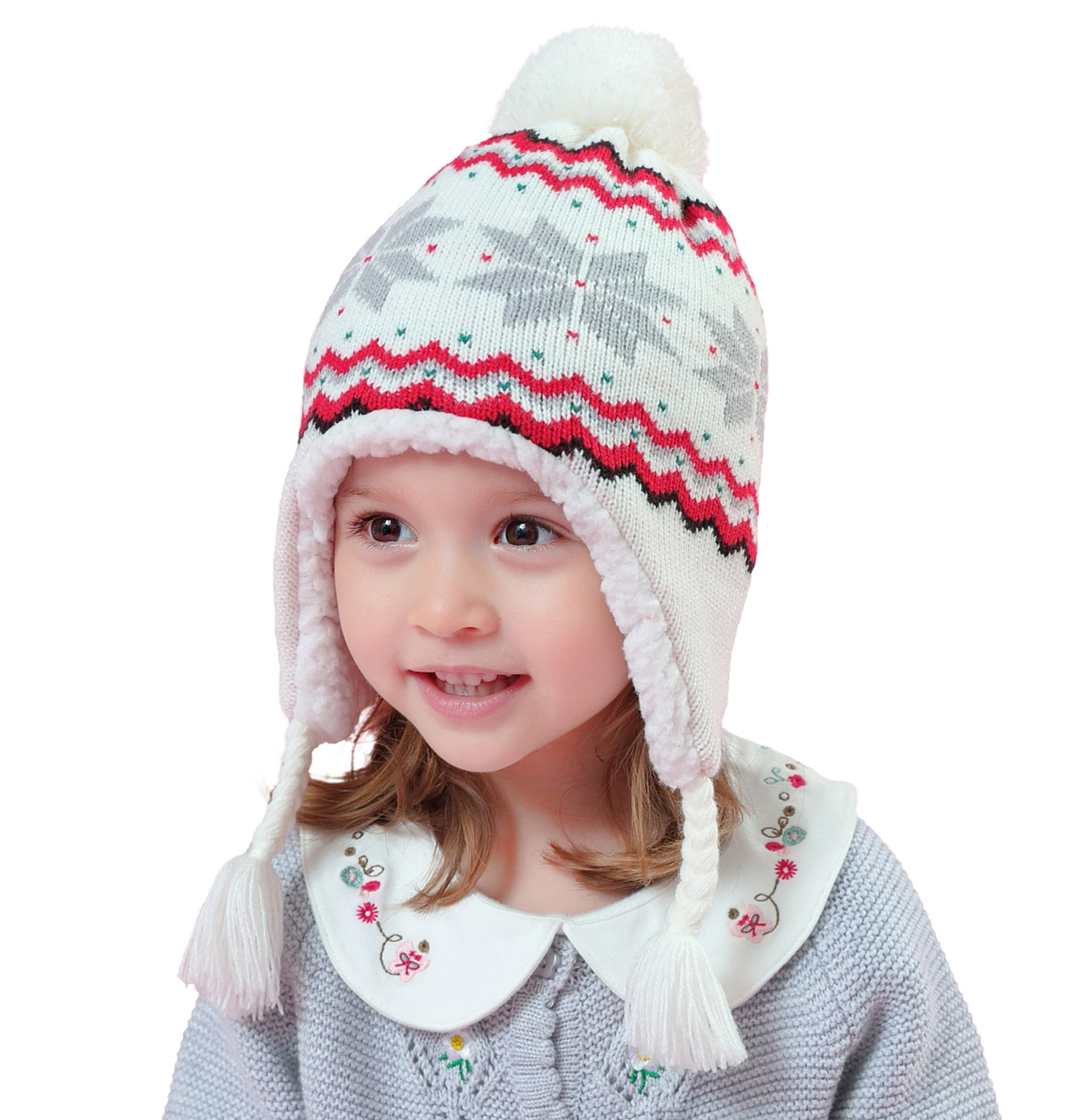 Connectyle Toddler Boys Knit Kids Hat with Earflap Lined Beanie Winter Skull Cap