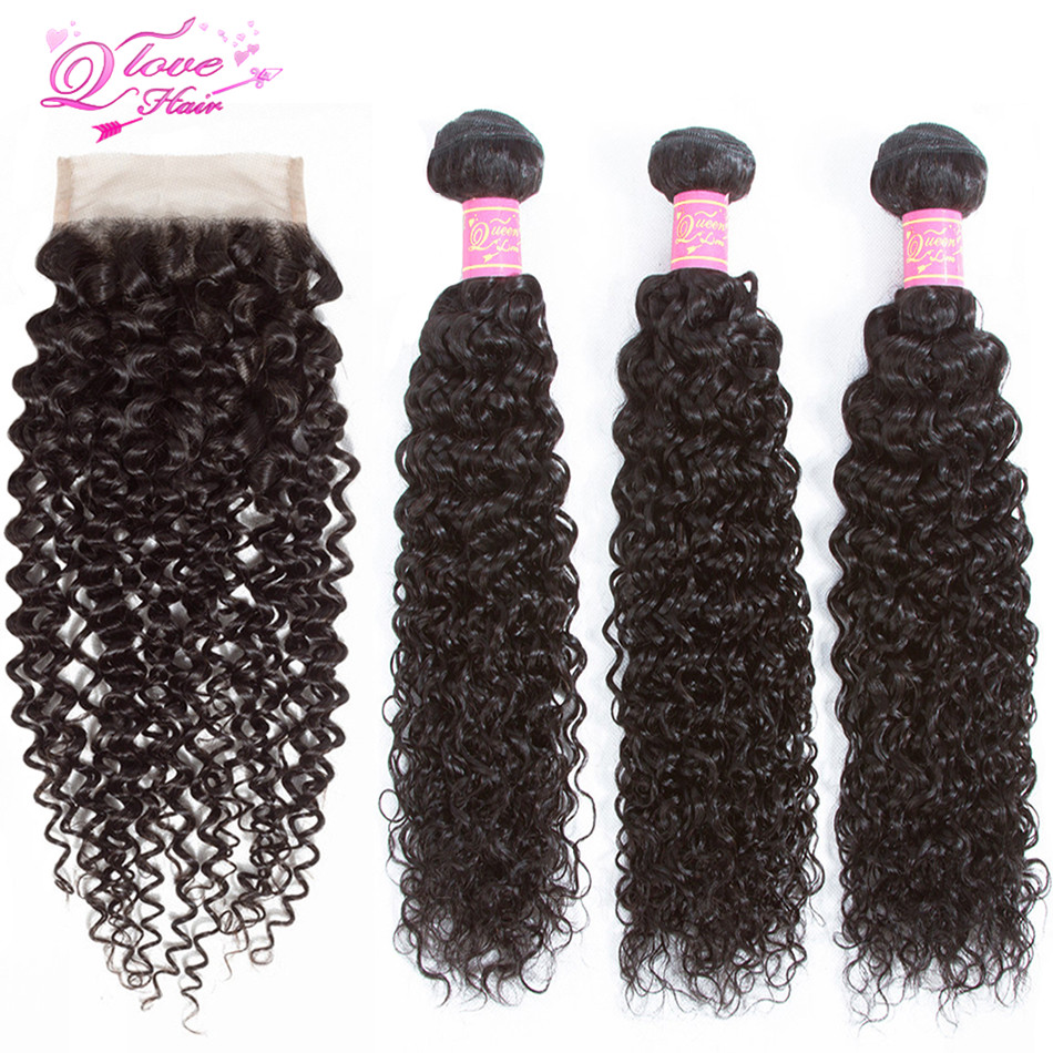 Queen Love Hair Kinky Curly Bundles With Closure Brazilian Human Hair 3 Bundles With Closure 100% Remy Curly Hair Extension