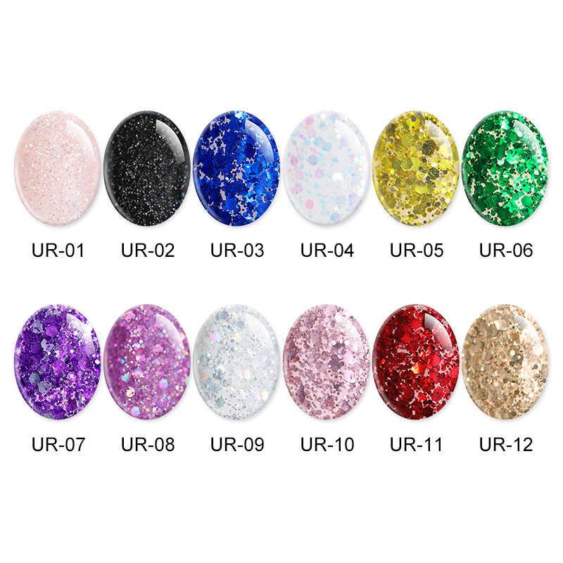 UR Gula Glitter Uv Gel Nail Polish Super Bersinar Platinum UV Nail Gel Varnish Semi Permanen Hybrid Nail Varnish LED bahasa Polandia