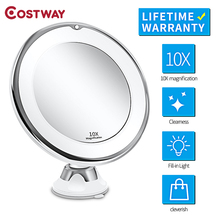 COSTWAY Led Makeup Magnifying Cosmetic Mirror with Light Vanity Make up Grossissant 10X Mirrors Droppship & Sucker