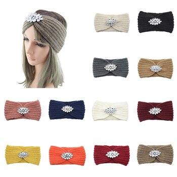 Rhinestone Knitted Headband Girls Knitting Headwraps Winter Warm Turban Bohemian Elastic Hair Band Accessories For Women