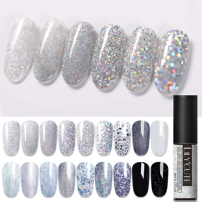 Lilycute Zilveren Glitter Nail Gel Polish Pailletten Uv Gel Nagellak Losweken Langdurige Nail Art Gel Polish 5ml
