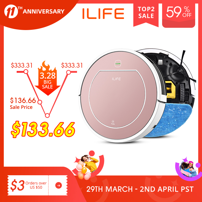 ILIFE V7s Plus Robot Vacuum Cleaner Sweep and Wet Mopping Disinfection For Hard Floors&Carpet Run 120mins Automatically Charge 1