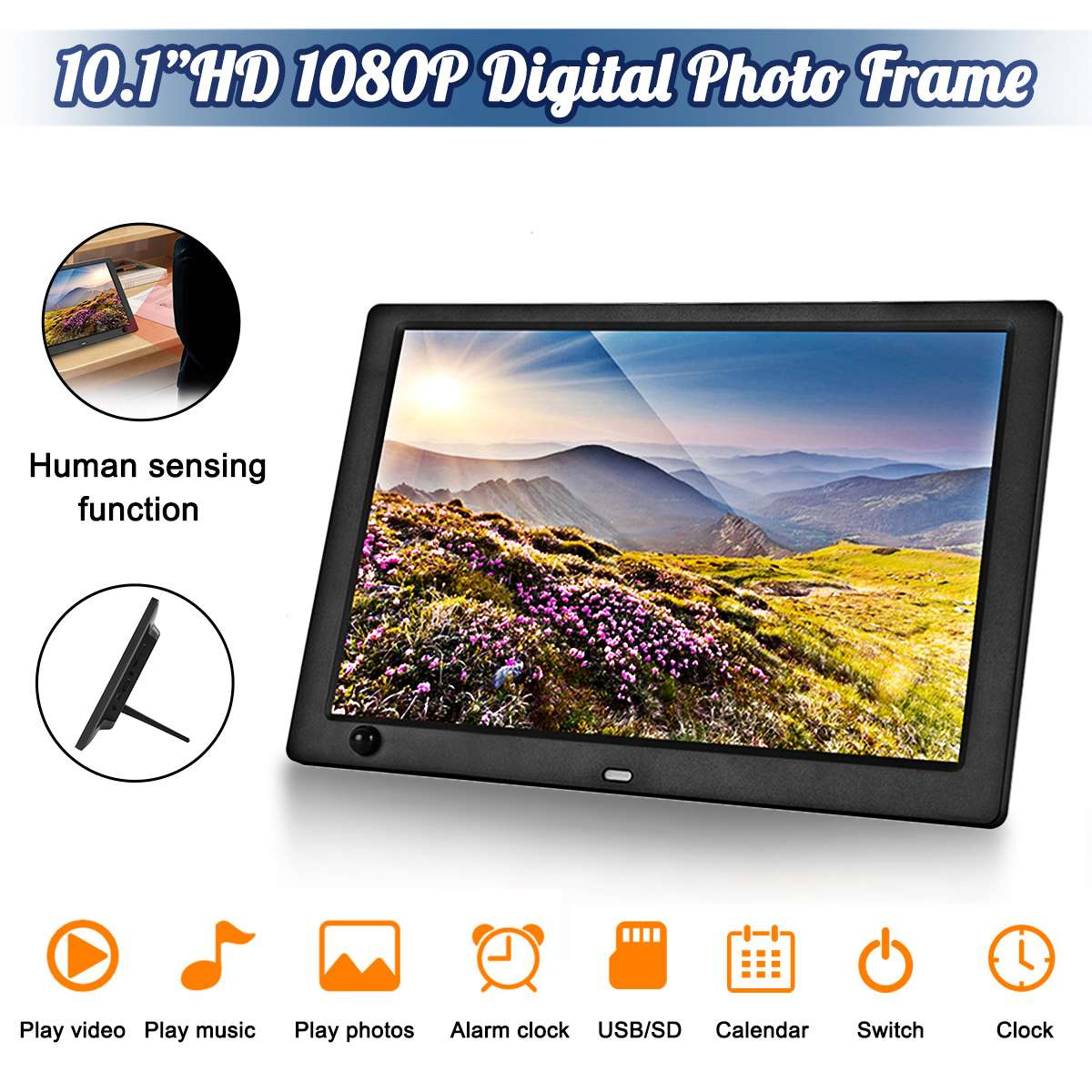 10.1 Inch HD Digital Photo Frame LED Screen Electronic Picture Album Music Movie with Human Sensing Function 1080P image