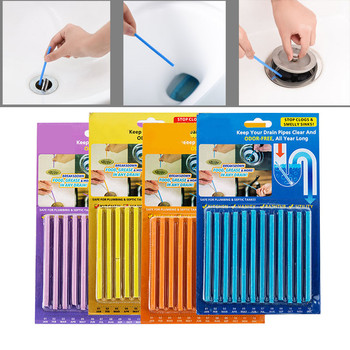12PCS/ Set Pipe Cleaning Sticks Decomposition of Hair and Waste in Pipes Sink Clogging Remover Tools Pipe Cleaner Bathroom Tools