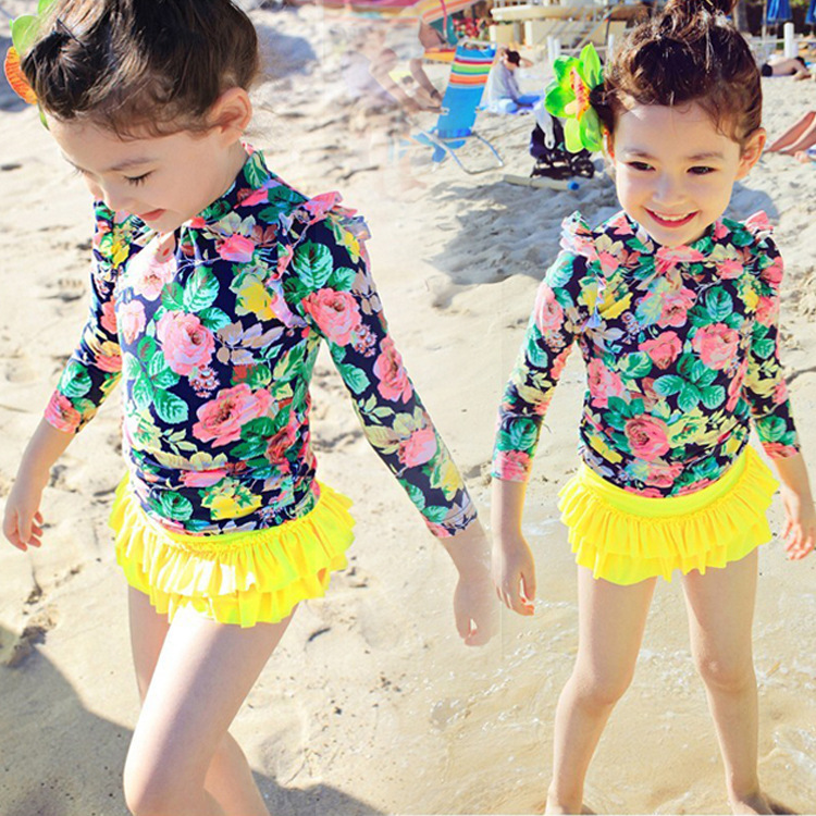 Korean-style Children New Style Bathing Suit Middle And Large Girls Sun-resistant Long Sleeve Floral-Print Split Type Swimwear C