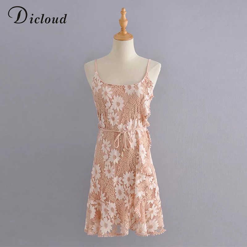 DICLOUD seksowna kwiecista damska letnia sukienka paski spaghetti sukienka typu wrap Boho mini impreza sukienka Casual odzież dla kobiet