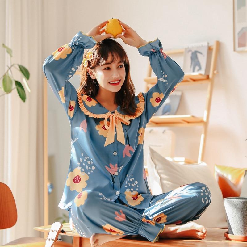 WAVMIT Original Lazy Style Fake Flower Silk Pajamas Set For Women Spring Summer Women Sleepwear Set Doll Collar Cute Shrink Pant