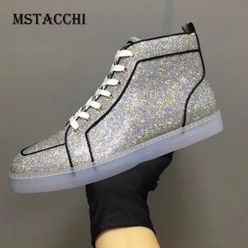 MStacchi Fashion Simple Men Casual Shoes Sequins High-Top Lace-Up Luxury Rhinestones Breathable Comfoetable Male Flats Sneakers