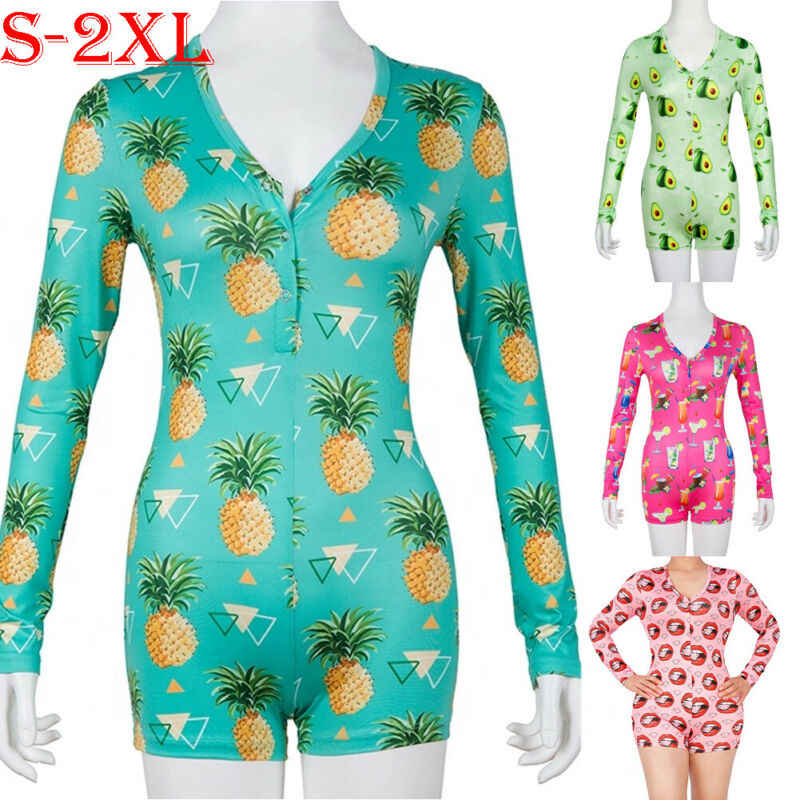 Summer Sexy Women One Piece Pajamas Nightwear Ladies Long Sleeve Pajamas Sleepwear Pyjamas Nightwear Romper Jumpsuit Set