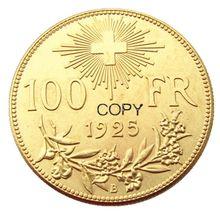 Suíça 100 frs 1925 moeda de cópia banhado a ouro
