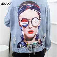 RUGOD fashion character 3d print jean jacket women delicate appliques knot bow d