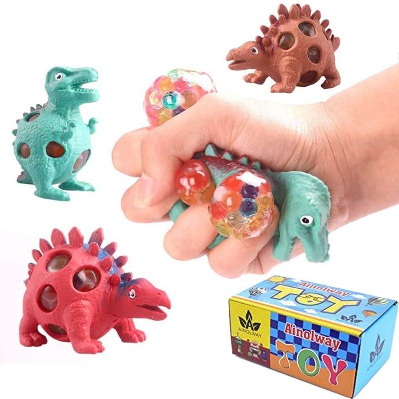3 PCS Dinosaurier Sensorischen Spielzeug Lindert Stress Bälle Squeeze Mesh Party Geschenk Geeignet für Kinder und Erwachsene Autismus Arbeit Druck spielzeug