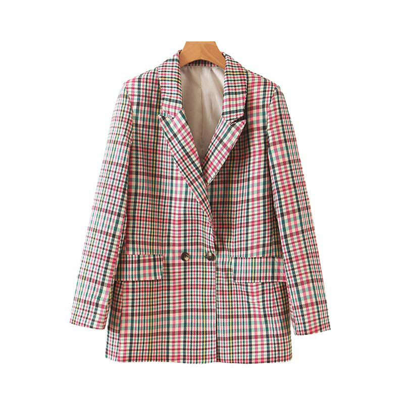 Women Plaid Blazers Suit Chic Pockets Double Breasted Long Sleeve Office Ladies Coat Female Casual Retro Outerwear Clothes