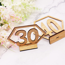 1-20/21-40 Rustic Wedding decoration Wood Table Number Sign Birthday Festival Party Events Hexagon Place Card Seat